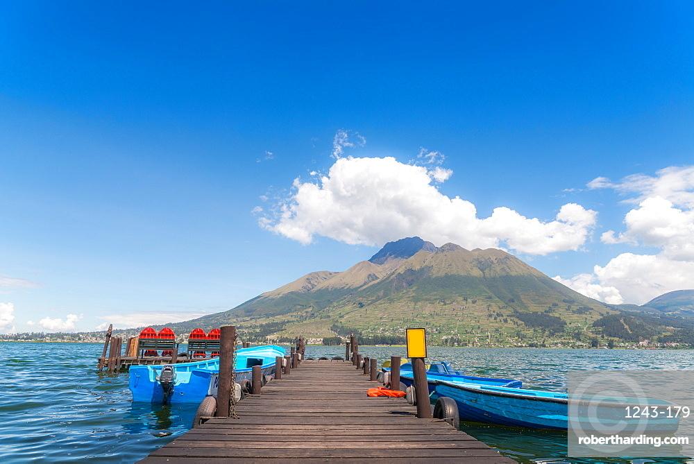 Pier overlooking a lake in Otavalo, Ecuador, South America