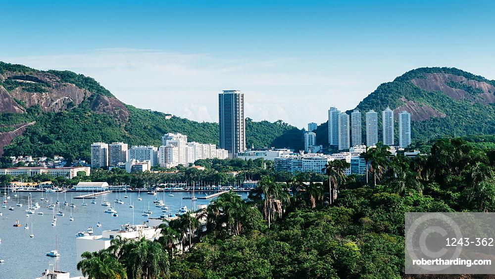 Botafogo Bay surrounded by tropical vegetation, Rio de Janeiro, Brazil, South America