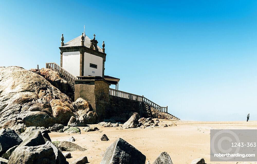 17th-century Capela Do Senhor Da Pedra (???Chapel of the Lord of Stone???) in Miramar, south of Porto, Portugal