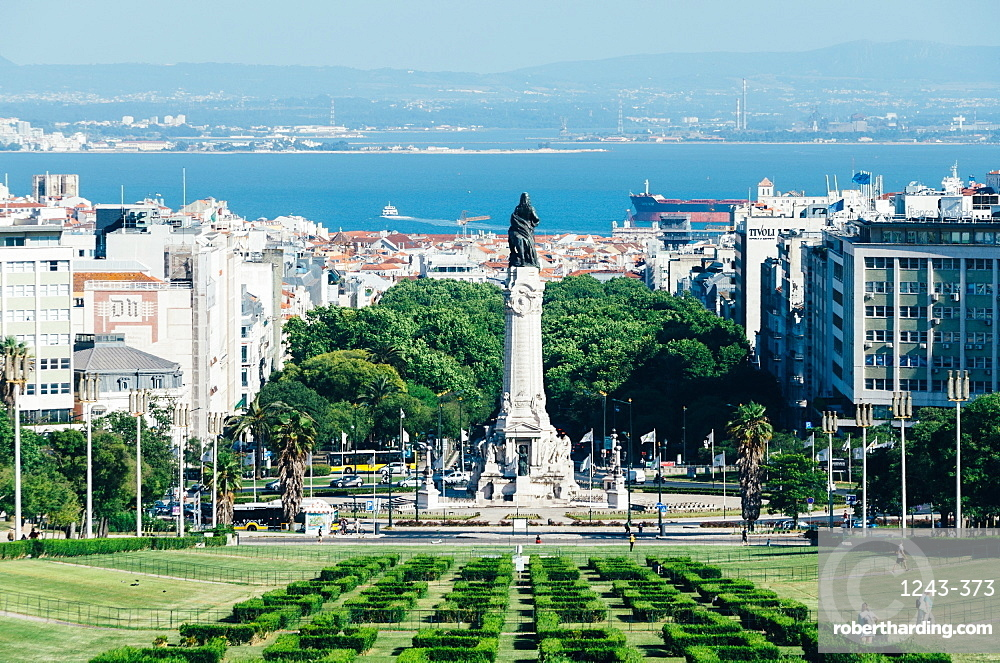 Eduardo VII Park looking towards Marques de Pombal Statue on a beautiful summer day, Lisbon, Portugal, Europe