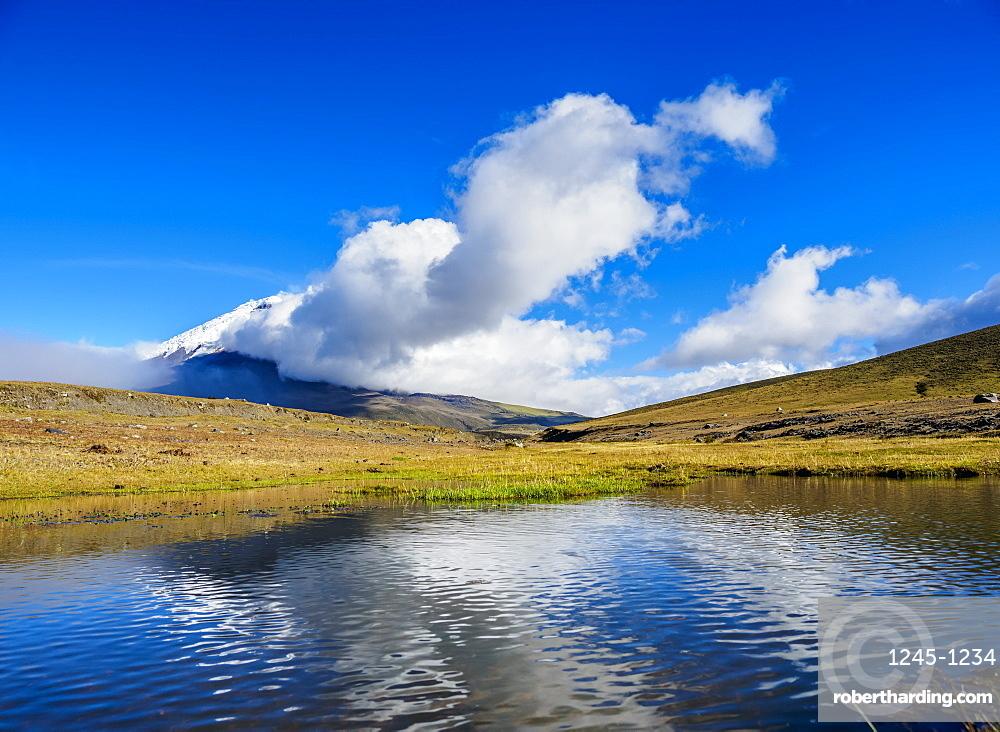 Cotopaxi Volcano in clouds, Cotopaxi National Park, Cotopaxi Province, Ecuador, South America