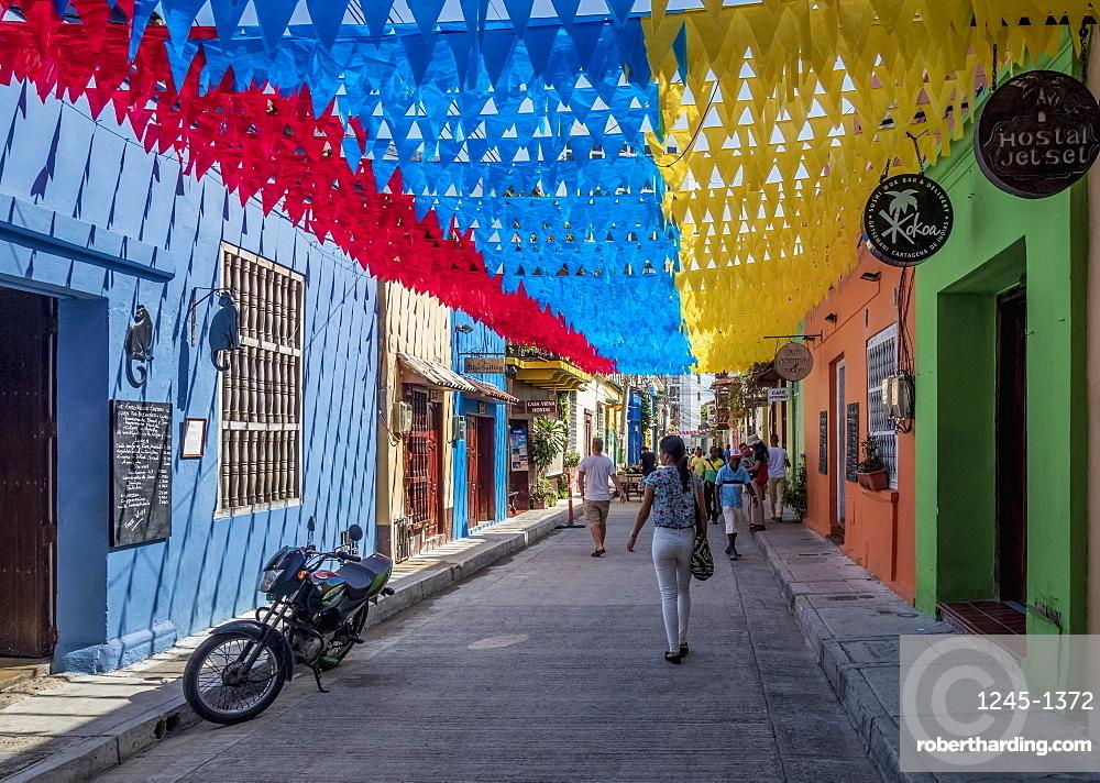 Street of Getsemani, Cartagena, Bolivar Department, Colombia, South America