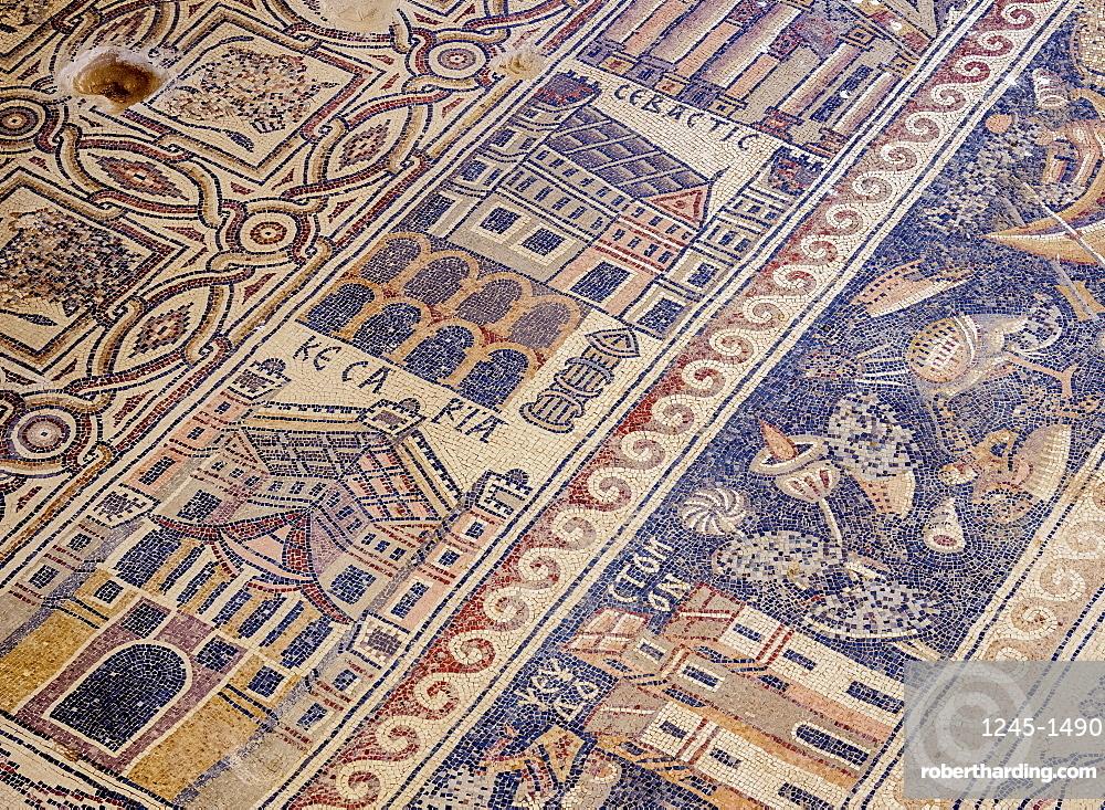 Mosaic floor in Umm ar-Rasas, UNESCO World Heritage Site, Amman Governorate, Jordan, Middle East