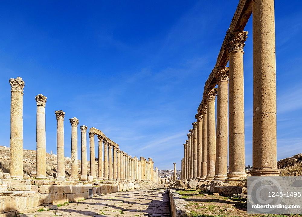 Colonnaded Street (Cardo), Jerash, Jerash Governorate, Jordan, Middle East