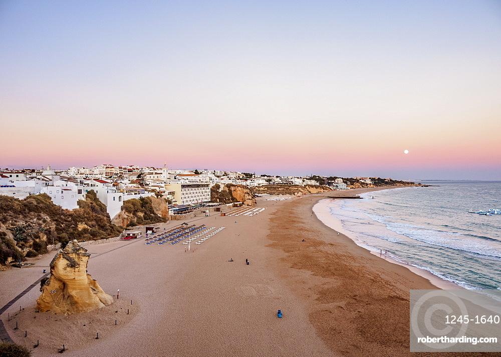 Paneco Beach at dusk, elevated view, Albufeira, Algarve, Portugal, Europe