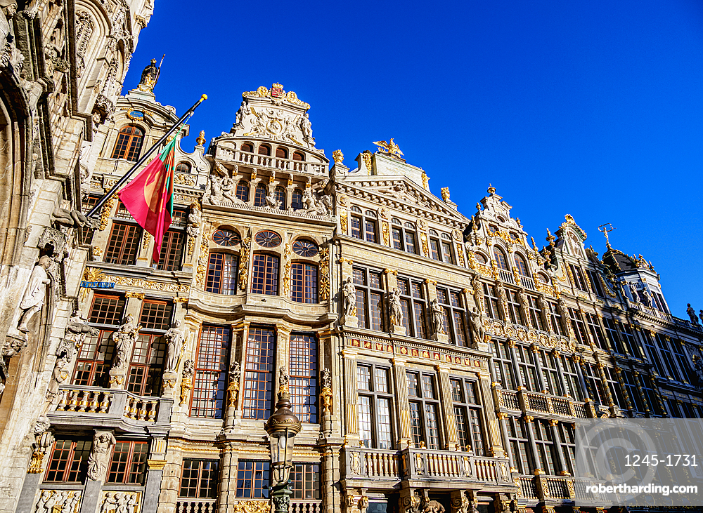 Houses at Grand Place, UNESCO World Heritage Site, Brussels, Belgium, Europe