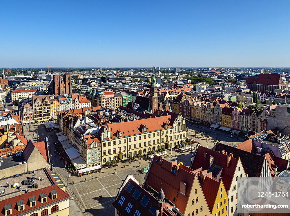 Market Square, elevated view, Wroclaw, Lower Silesian Voivodeship, Poland