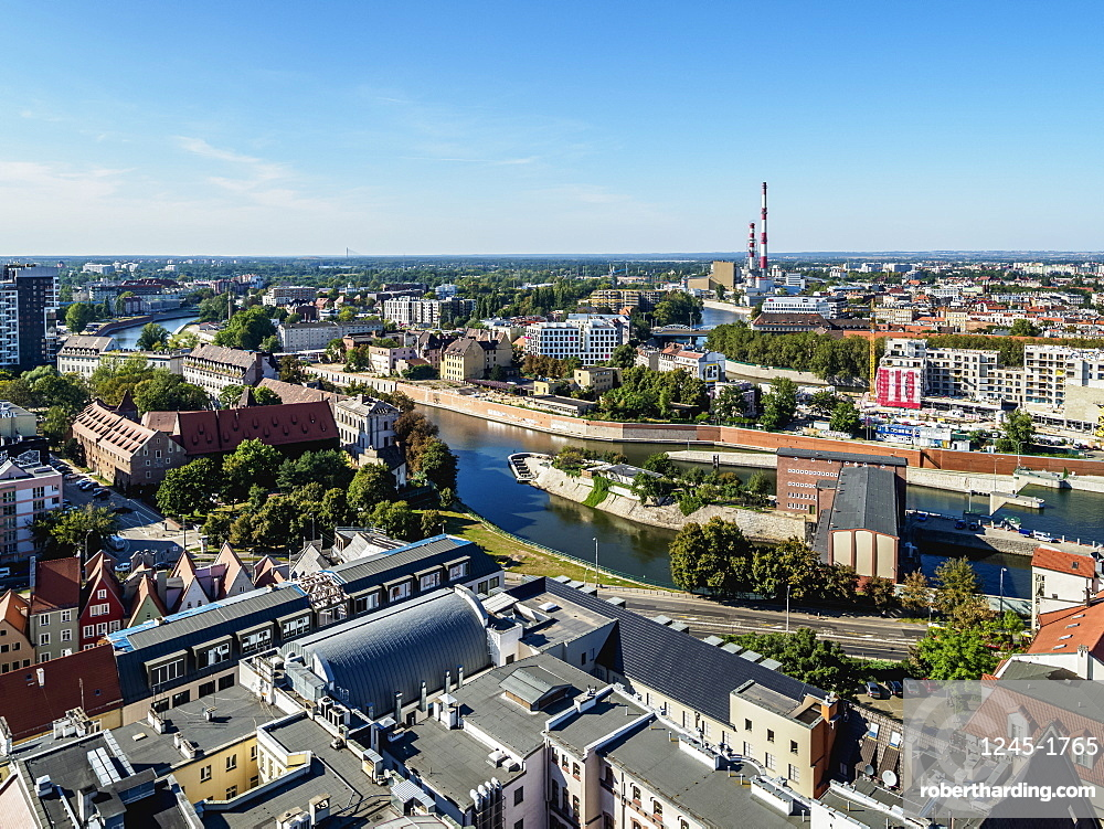 Skyline with Oder River, elevated view, Wroclaw, Lower Silesian Voivodeship, Poland, Europe