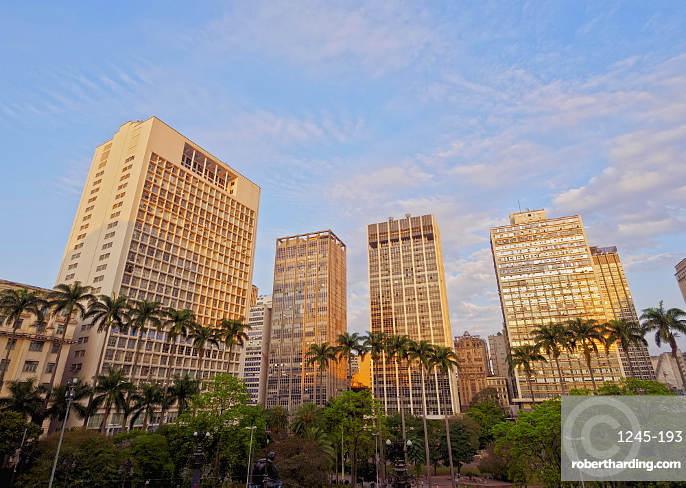 View of the Anhangabau Park and buildings in city centre., City of Sao Paulo, State of Sao Paulo, Brazil, South America