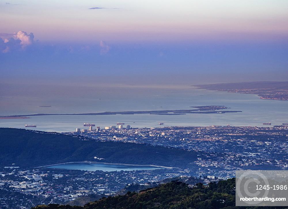 View from Blue Mountains towards Kingston at sunrise, Saint Andrew Parish, Jamaica