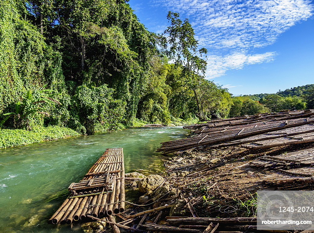 Rafts at the river bank of Martha Brae, Trelawny Parish, Jamaica