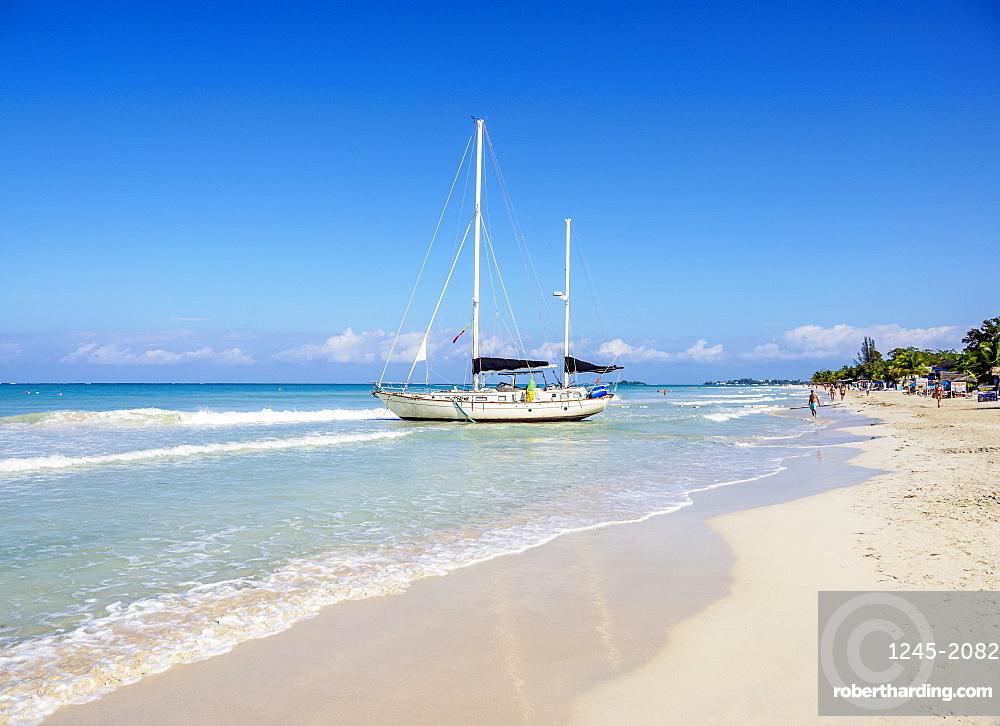 Sailing Ship at Seven Mile Beach, Long Bay, Negril, Westmoreland Parish, Jamaica, West Indies, Caribbean, Central America