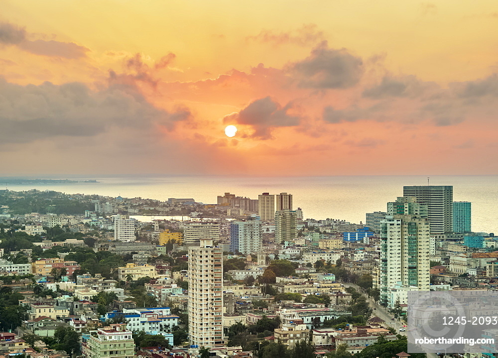 Vedado at sunset, elevated view, Havana, La Habana Province, Cuba, West Indies, Central America