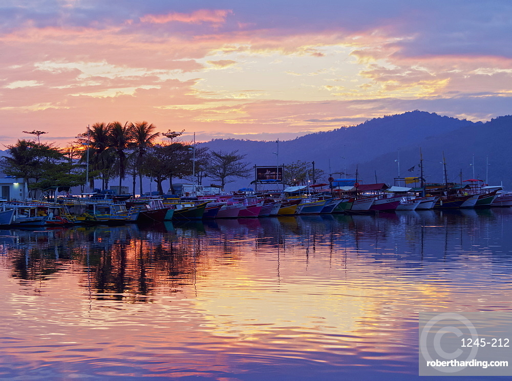 Sunrise over the port in Paraty, State of Rio de Janeiro, Brazil, South America