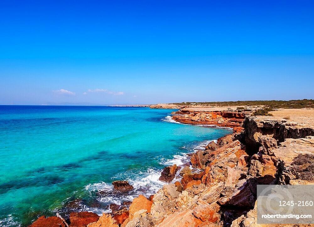 Rocky Coast of Cala Saona, Formentera, Balearic Islands, Spain, Mediterranean, Europe