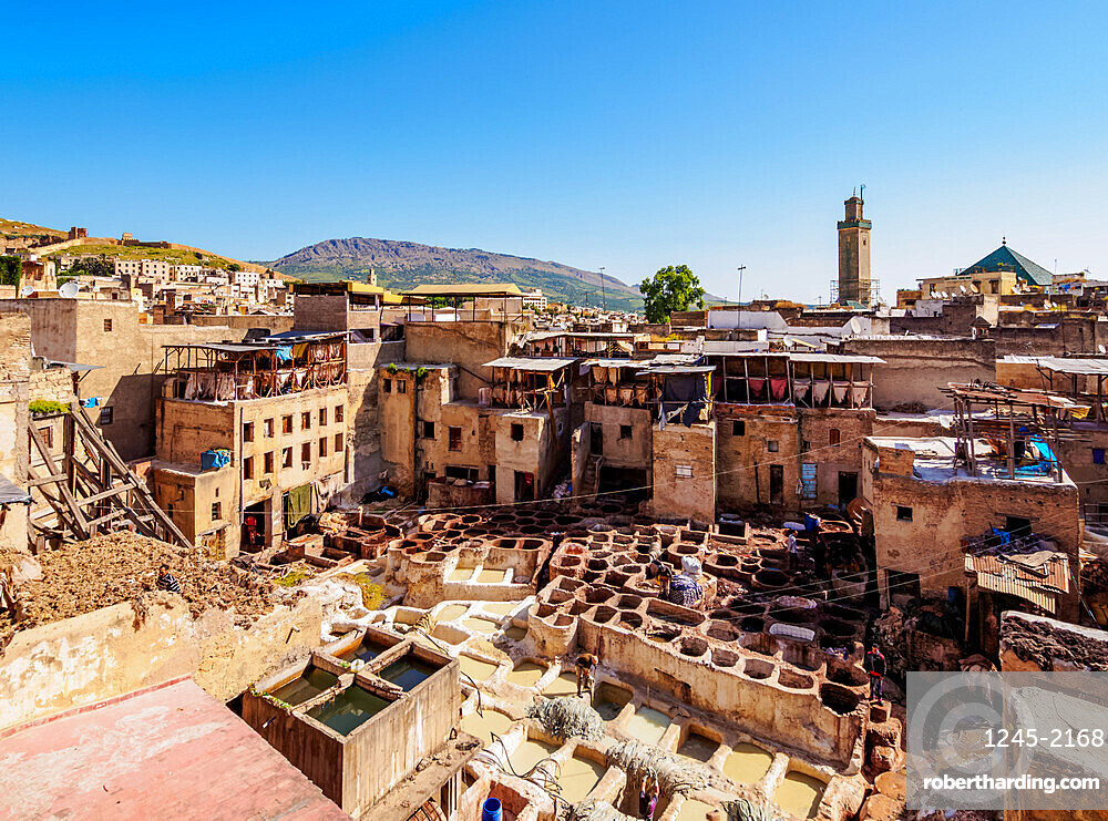 Merveilles de Cuir Tannery inside the Old Medina, elevated view, Fes, Fez-Meknes Region, Morocco, North Africa, Africa