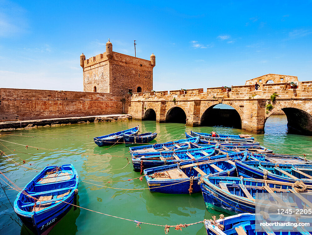 Blue boats in the Scala Harbour and the Citadel, Essaouira, Marrakesh-Safi Region, Morocco, North Africa, Africa