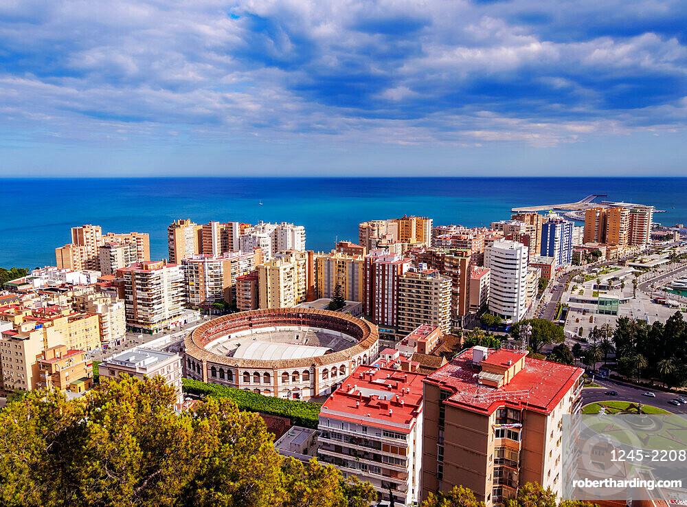 Cityscape with the Malagueta Bullring Stadium, Malaga, Andalusia, Spain, Europe