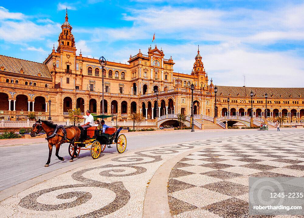 Horse Carriage at Plaza de Espana de Sevilla (Spain Square), Seville, Andalusia, Spain, Europe