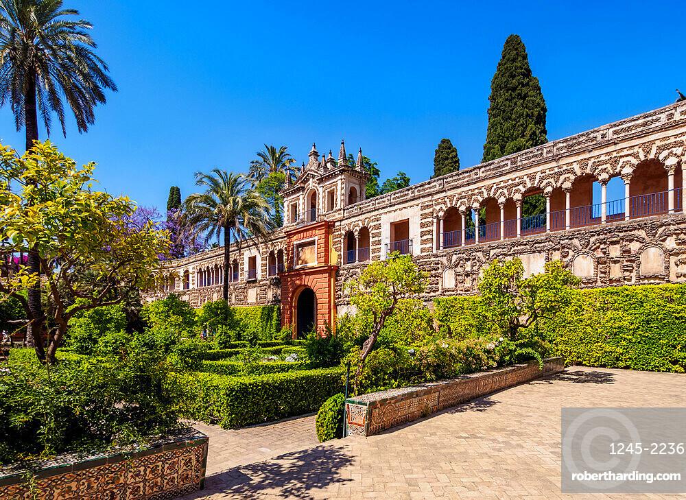 Gardens in Reales Alcazares de Sevilla, Alcazar of Seville, UNESCO World Heritage Site, Seville, Andalusia, Spain