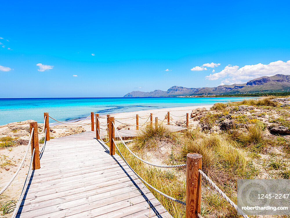 Jetty to S'Arenal Beach, Alcudia Bay, Son Serra de Marina, Mallorca (Majorca), Balearic Islands, Spain, Mediterranean, Europe