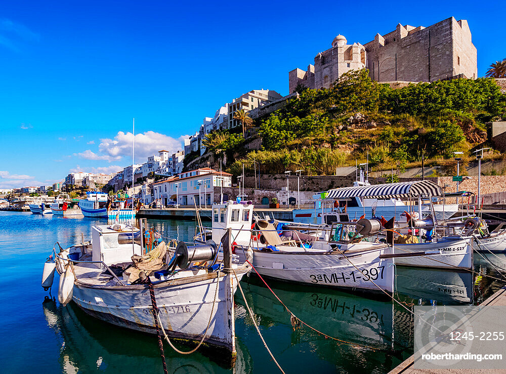 Boats in port and Saint Francis Monastery, Mahon(Mao), Menorca (Minorca), Balearic Islands, Spain, Mediterranean, Europe