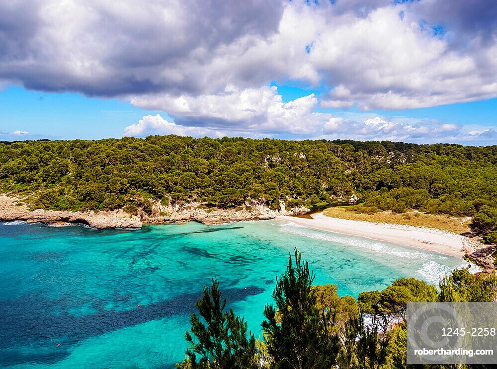 Cala Trebaluger, Trebaluger Bay, elevated view, Menorca (Minorca), Balearic Islands, Spain, Mediterranean, Europe