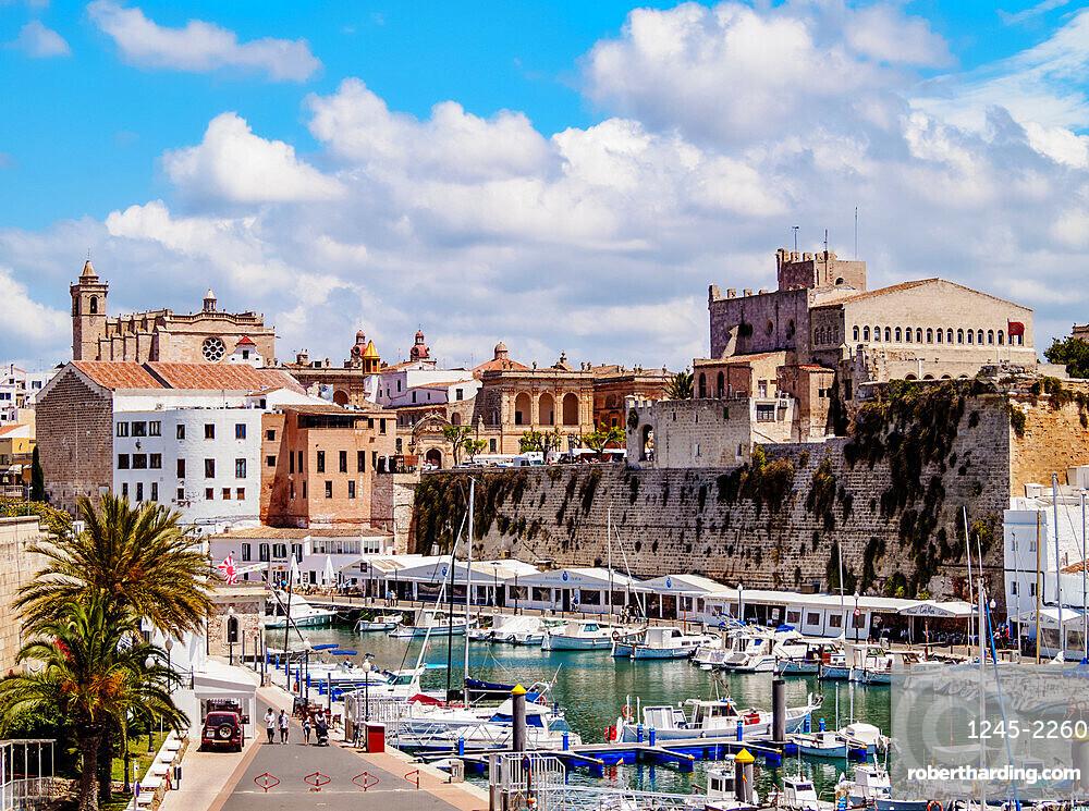 View over the port towards the Cathedral, Ciutadella, Menorca (Minorca), Balearic Islands, Spain, Mediterranean, Europe