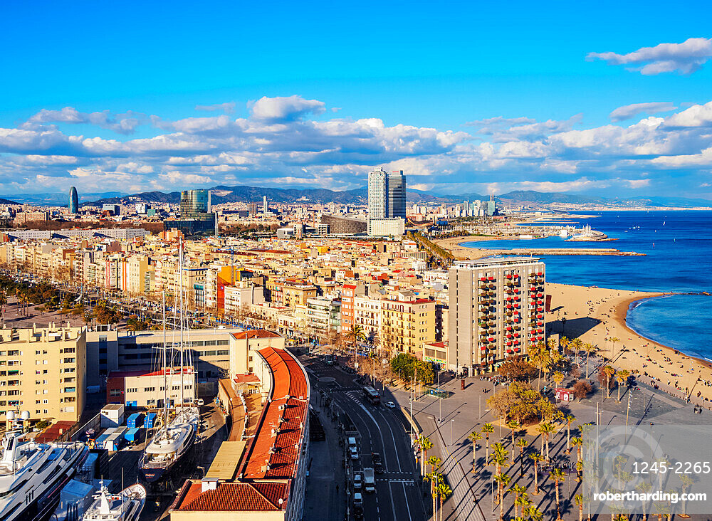 Cityscape with the coastline and Barceloneta Beach, elevated view, Barcelona, Catalonia, Spain, Europe