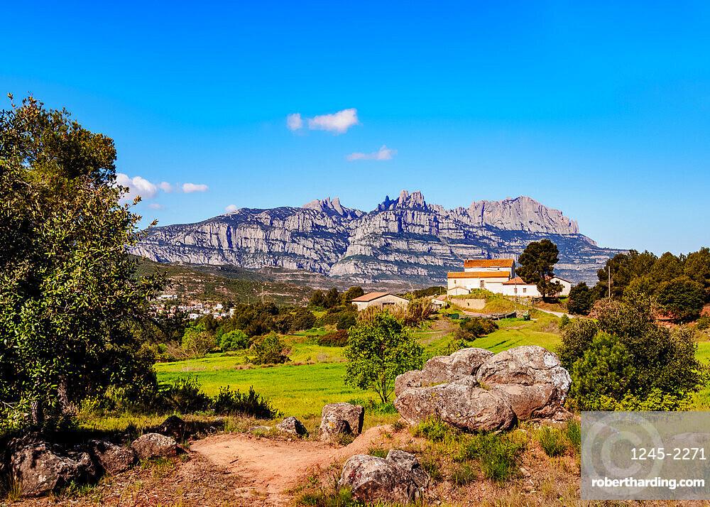 View towards the Montserrat, a multi-peaked mountain range near Barcelona, Catalonia, Spain, Europe