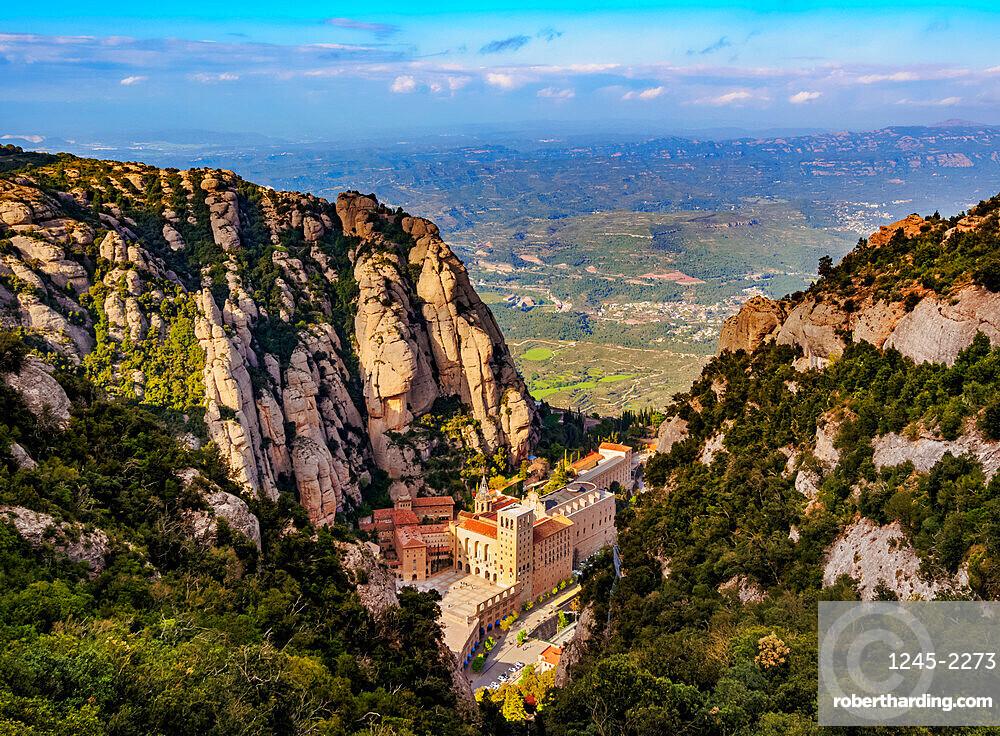 Santa Maria de Montserrat Abbey, elevated view, Montserrat mountain range near Barcelona, Catalonia, Spain, Europe