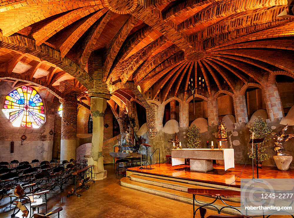 Unfinished Antoni Gaudi Church, interior, UNESCO World Heritage Site, Colonia Guell, Catalonia, Spain, Europe