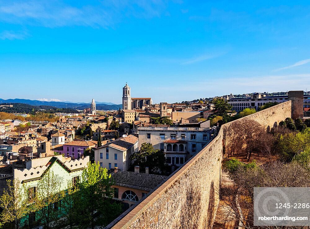 Old Town Skyline including the cathedral seen from the city walls, Girona (Gerona), Catalonia, Spain, Europe
