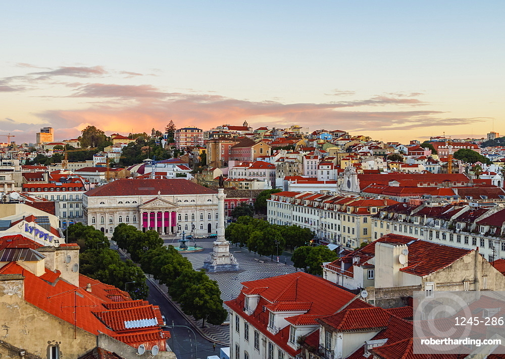 Elevated view of the Pedro IV Square, Lisbon, Portugal, Europe