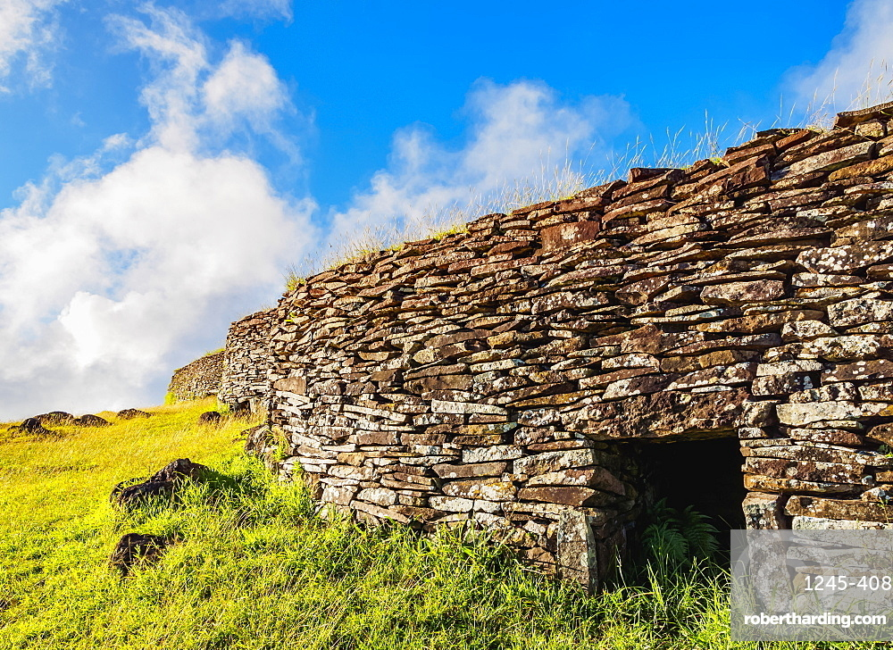 Orongo Village, Rapa Nui National Park, UNESCO World Heritage Site, Easter Island, Chile, South America