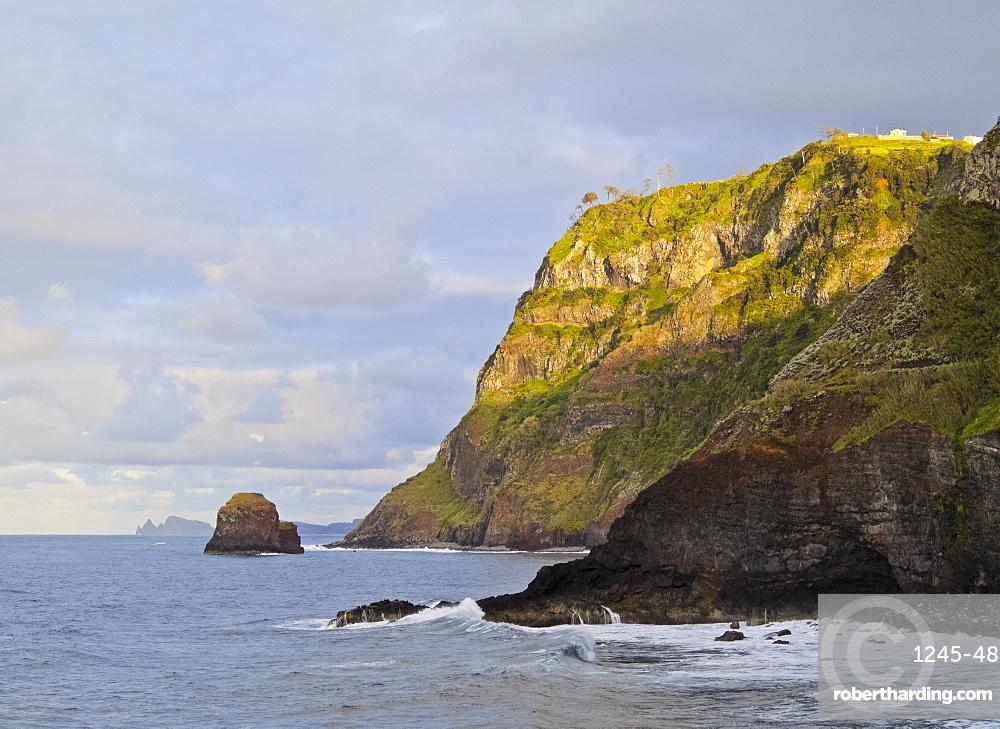 View of the cliffs near the Ponta de Sao Jorge, Madeira, Portugal, Atlantic Ocean, Europe