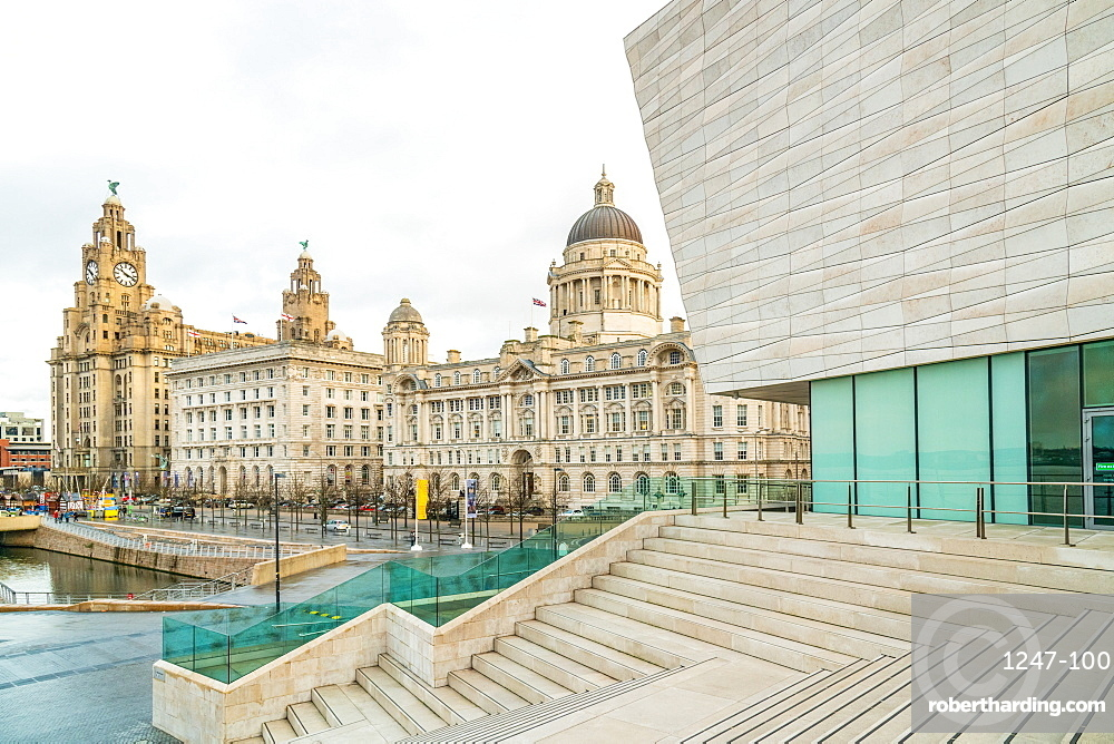 Buildings on waterfront in Liverpool, England, Europe