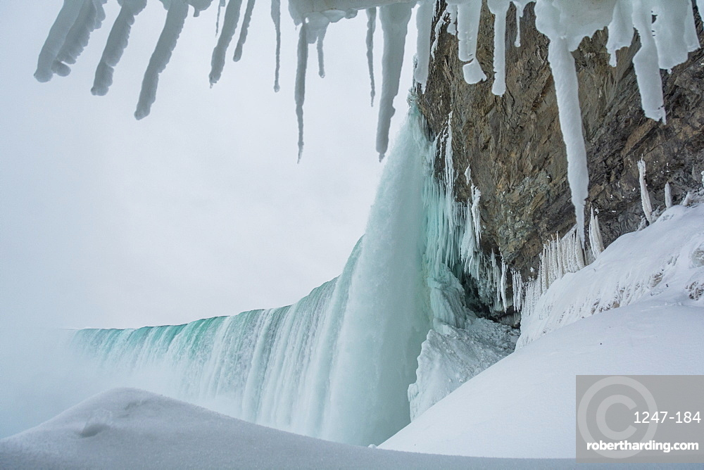 Frozen Niagara Falls, view from beneath the falls, Ontario, Canada, North America