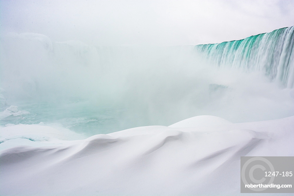 Frozen Niagara Falls in January, view from beneath the falls, Ontario, Canada, North America
