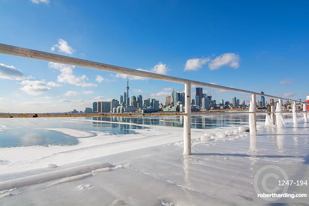 Frozen Toronto views from Polson Pier, Toronto, Ontario, Canada, North America