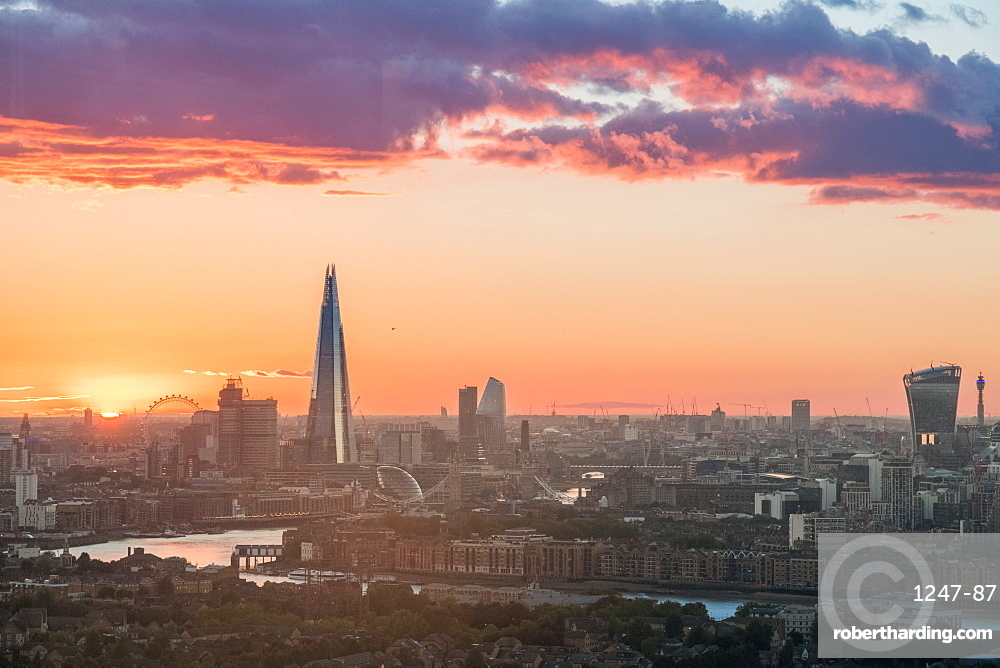 The sun sets over the City of London, London, England, United Kingdom, Europe