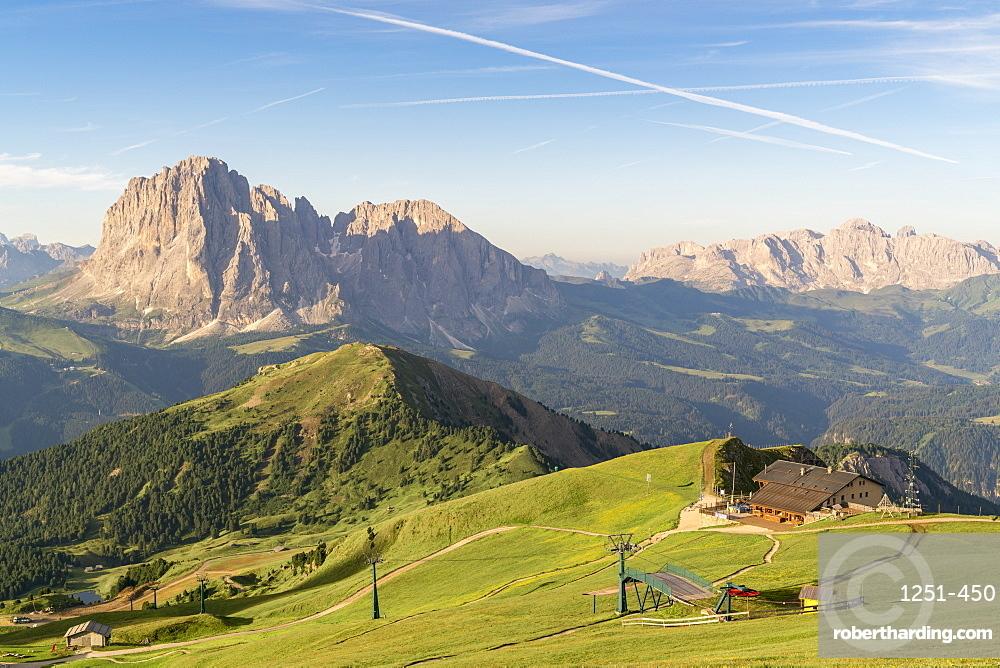 Funicular railway of Seceda mountain in Italy, Europe