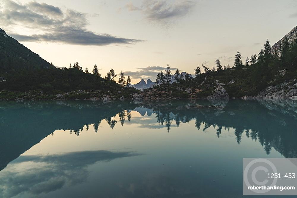 Lake Sorapis at sunset in Cortina d'Ampezzo, Italy, Europe