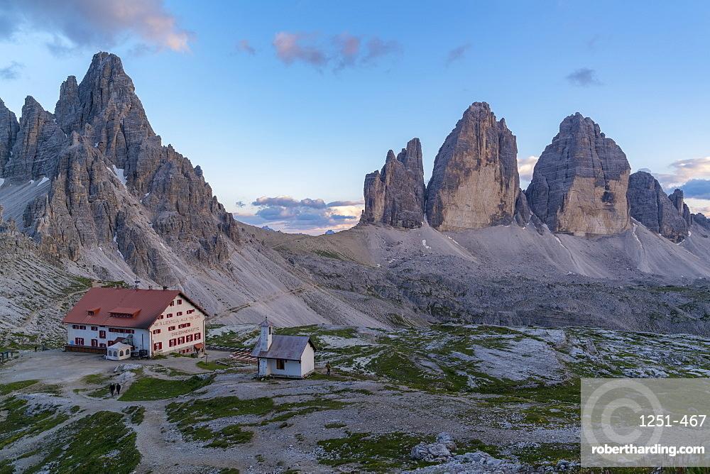 Dreizinnen hut by Mount Paterno and Three Peaks of Lavaredo in Italy, Europe