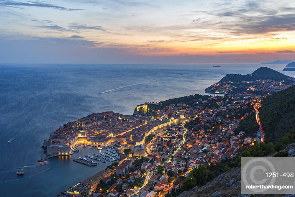 The town at sunset from an elevated point of view, Dubrovnik, Dubrovnik-Neretva county, Croatia, Europe