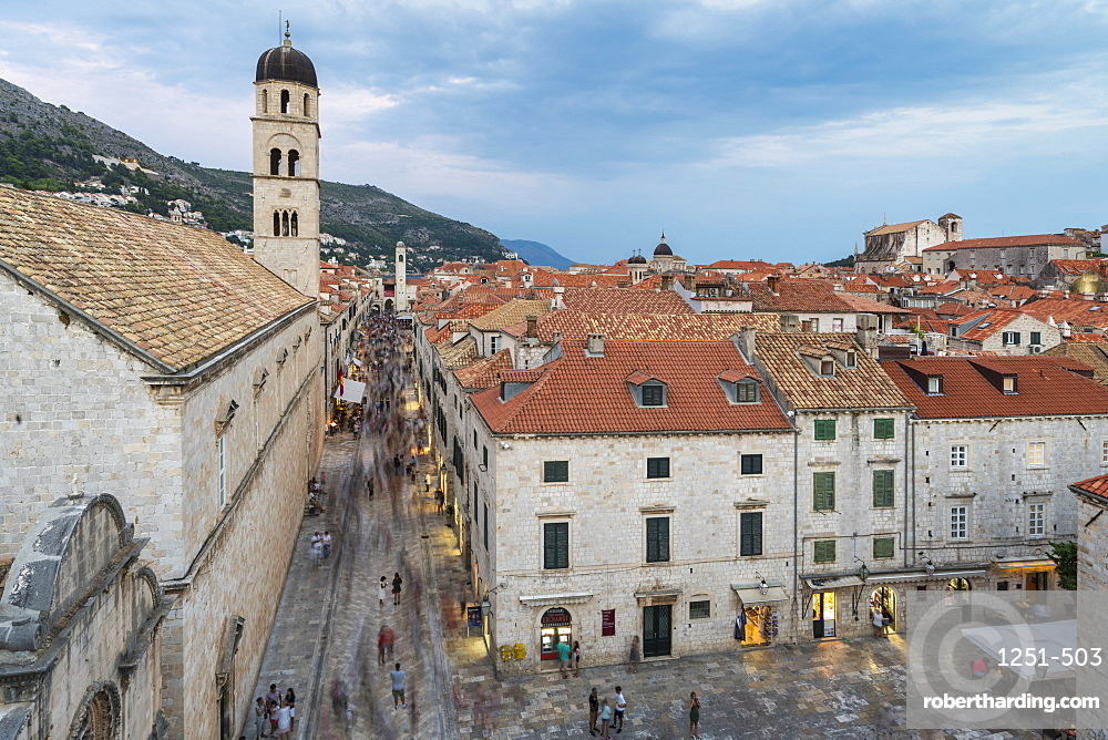 View of the Franciscan Monastery and its bell tower at dusk, Dubrovnik, Dubrovnik-Neretva county, Croatia, Europe