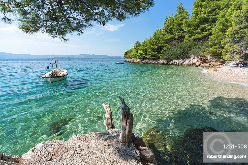 Boat at Dracheva beach, in summer, Murvica, Bol, Brac island, Split-Dalmatia county, Croatia, Europe