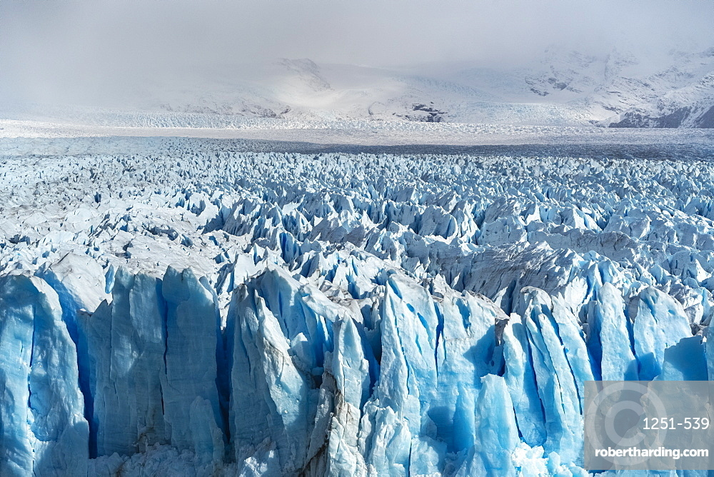 Close up on the ice of Perito Moreno glacier. Los Glaciares National Park, Santa Cruz province, Argentina.