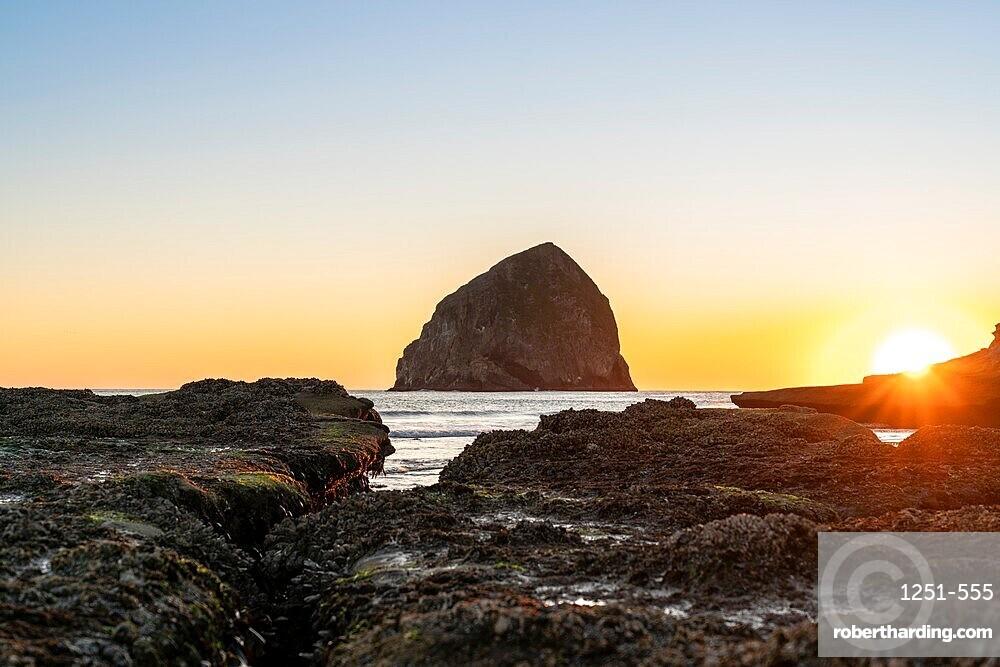 Haystack Rock at Cape Kiwanda at sunset, Pacific City, Tillamook county, Oregon, United States of America, North America