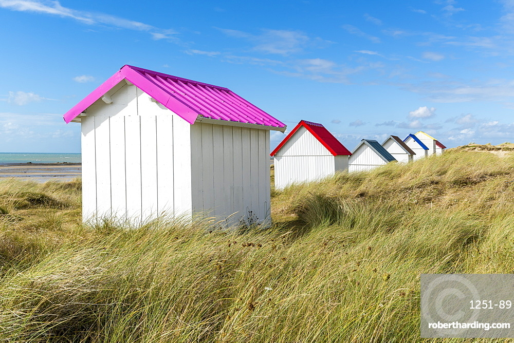 Beach huts gouville sur mer normandy france stock photo for Model beach huts